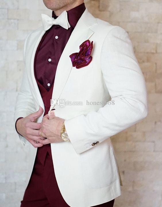 Bonito Gravando Groomsmen Notch Lapela Do Noivo Smoking Ternos Dos Homens de Casamento / Prom / Jantar Melhor Homem Blazer (Jacket + Pants + Tie + Vest) 167