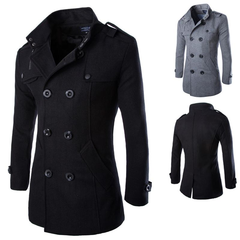 Hot Sale Autumn Long Wool Coat Men Fashion Turn-down Collar Wool Blend Double Breasted Pea Coat Jacket Men Brand Overcoats 3XL