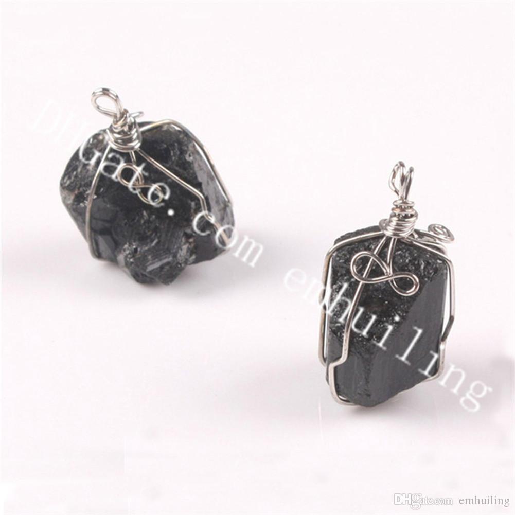 Black Tourmaline Stone Pendant Necklace Crystal Gem Specimen Jewelry Gift