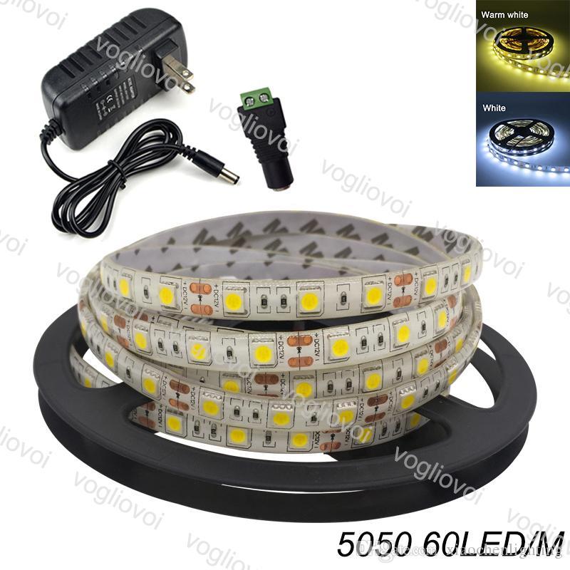 LED Light Strip multicolore SMD5050 5M / Roll Tape luce dell'interno del nastro flessibile bianco freddo DC12V adattatore 300LEDS vacanze Set Decoration DHL