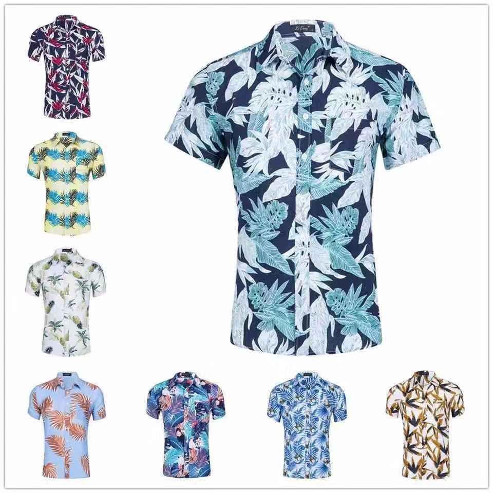 Free Shipping Black Summer Short Gift Presents Man Custom Design Digital Printed Shirt Hawaii Shirts Soft Cotton Material Short Long Sleeve