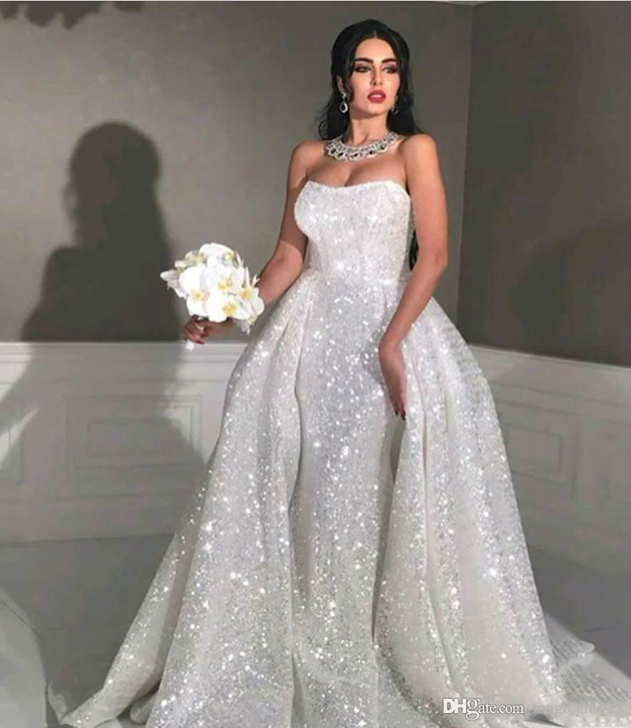 Glitter mermaid Style arabic wedding dresses with detachable train Strapless Sweetheart Full Sequins Plus Size Overskirt Country Bridal Gown