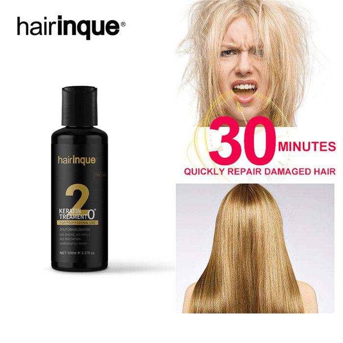 Hairinque 100мл 0% ФОРМАЛЬДЕГИДА кератин лечение NO ЗАПАХ NO SMOKE NO Раздражение волос делают гладкой блестящей 6шт лечения волос