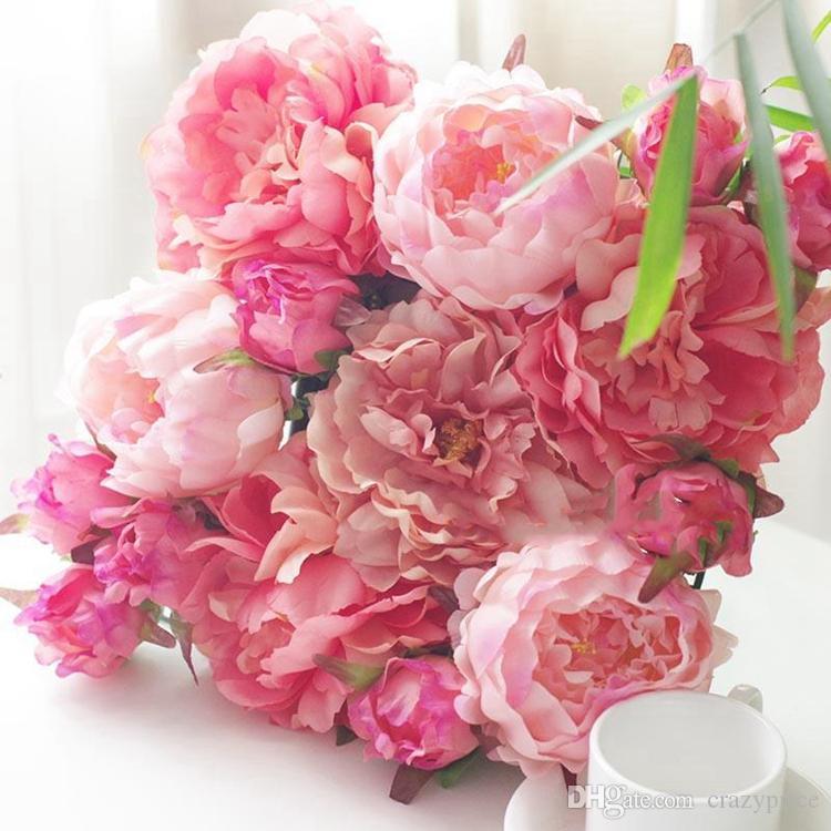 الزهور الحرير الاصطناعي روز رؤساء زهرة الفاوانيا رئيس زفاف القوس الطريق الرصاص زهور الزفاف الديكور 16 لون بالجملة YSY47Q