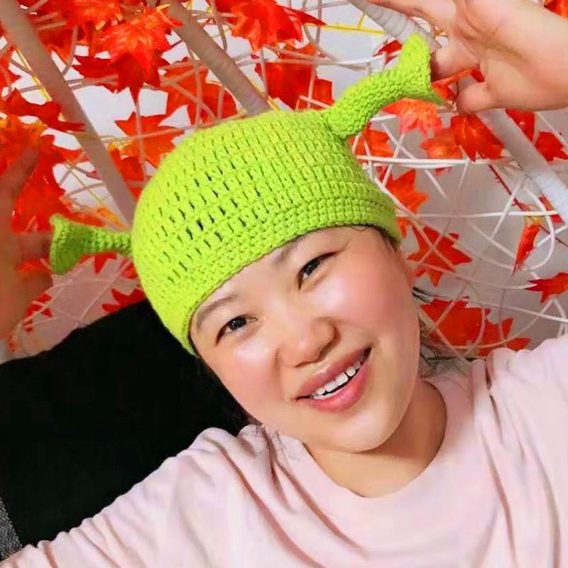 Симпатичные Шрек Смешные мужчины Hat Вязание Зеленый монстр Skullies Hat с ушками Hat Winter Новизна Beanie Skullies Женщины Мужчины Halloween Party красоты Шляпы