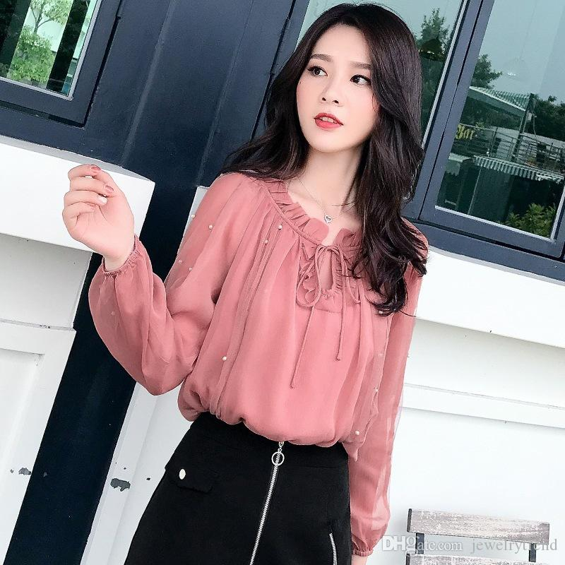 2019 Camicetta da donna in chiffon autunno manica lunga maglia perline camicia Camicia da donna Camicette eleganti rosa C4916