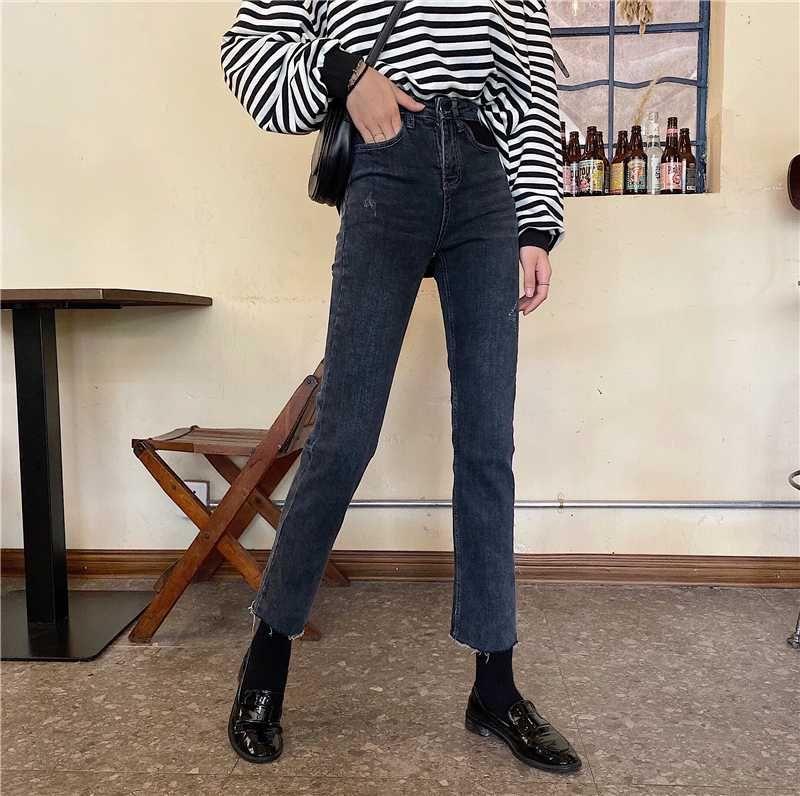 Nuove 2020 primavera e autunno pantaloni a gamba larga a vita alta i jeans invernali tubo diritto di nove punti i pantaloni donna