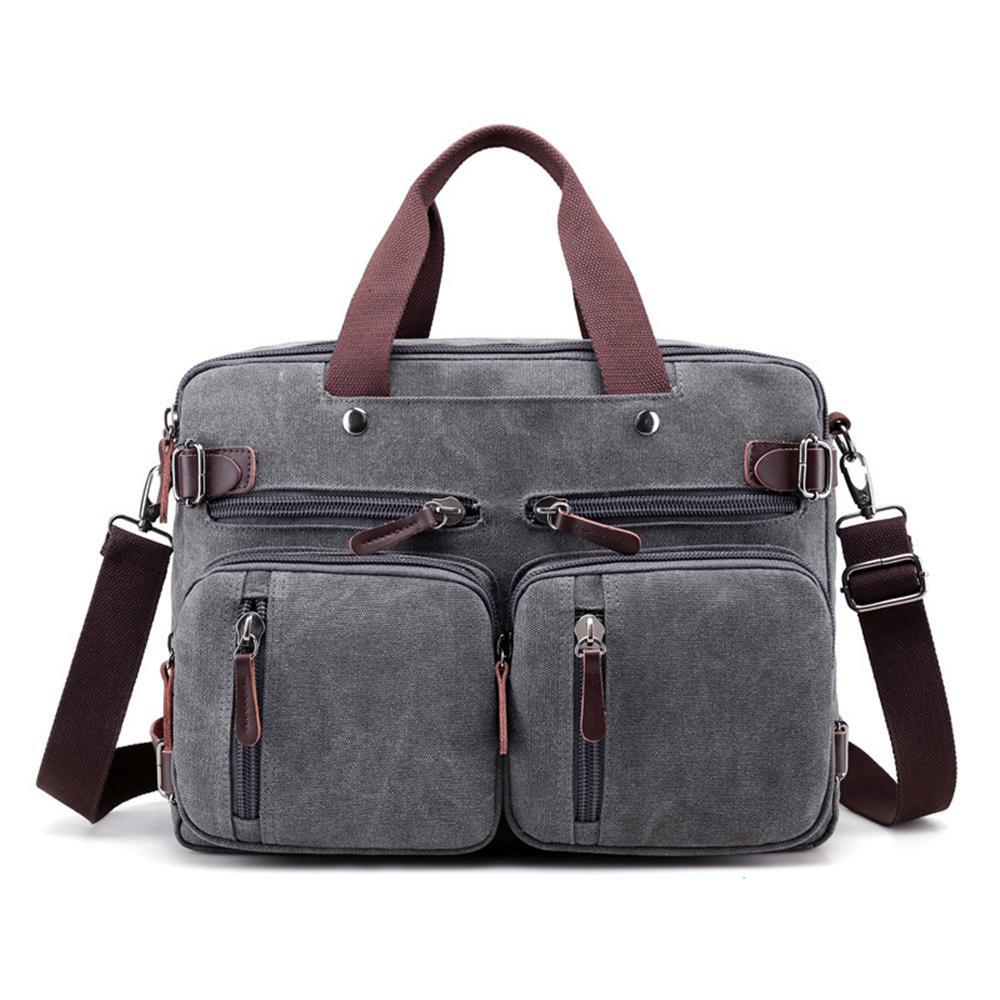 "Male Canvas 17"" laptop backpack Shoulder Laptop bag 14 15 15.6 17.3 inch Female stylish large 3 in 1 Notebook bag Black Gray"
