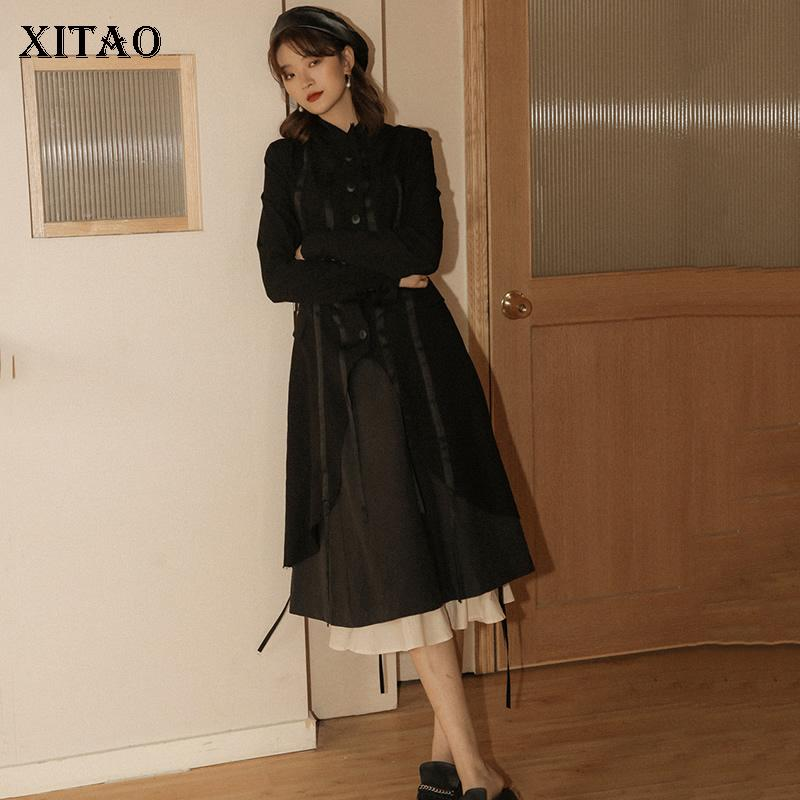XITAO مطوي طويل اسود خندق الموضة الجديدة 2020 الربيع أنيقة الصغيرة الطازجة واحدة الأقلية الثدي عارضة معطف الأعلى GCC3140