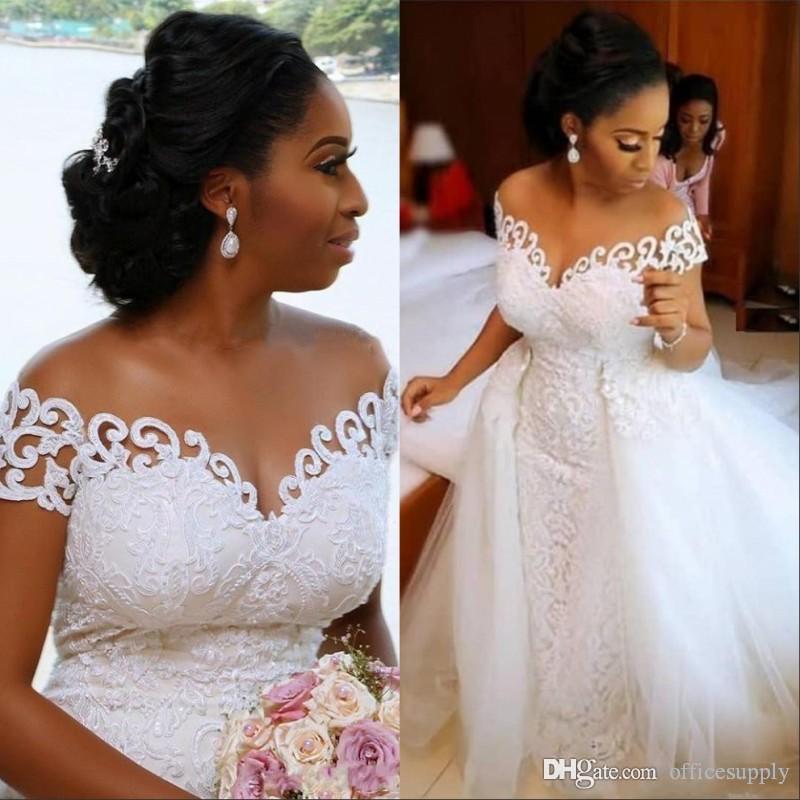 Abito da sposa Mermaid nigeriano Africana Con il treno staccabile Lace Up design breve manicotto nuziale degli abiti di