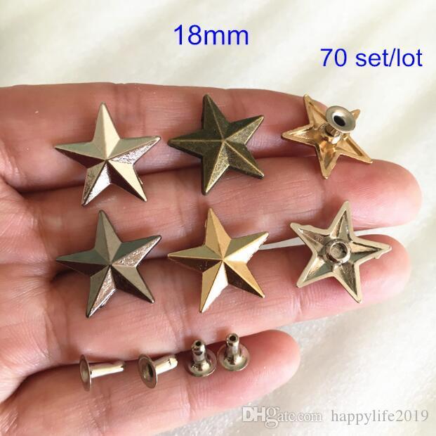 70 Set Star Rivet Stud، 18mm Gold، Silver، Bronze، Black، Star Rapid Stud، Punk Rock DIY Rivet Bags، Shoes، Belt، Leather