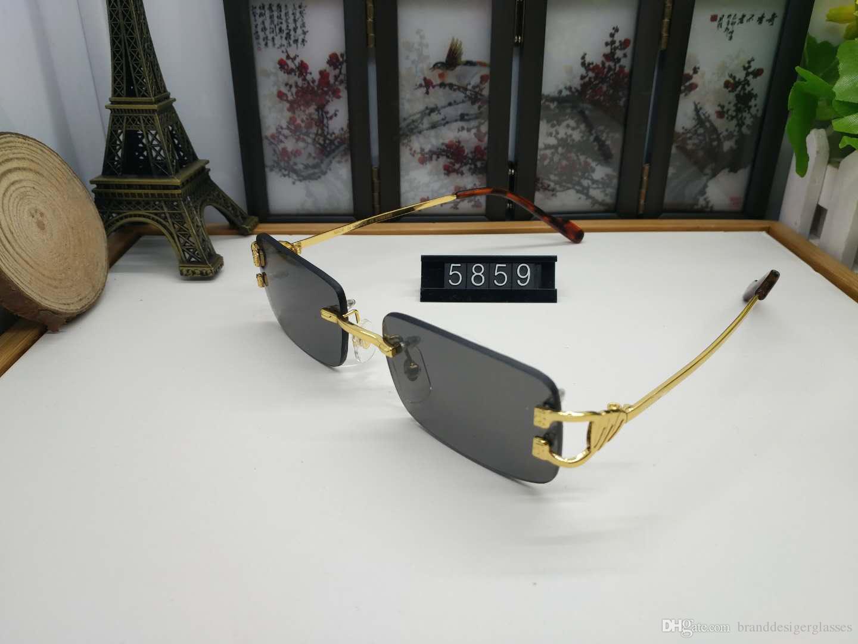 Herren Shades Damen Buffalo Horn Brillengestell Retro Übergroße Sonnenbrille Damen Randlose Sonnenbrille Herren Brillen 2019 Online
