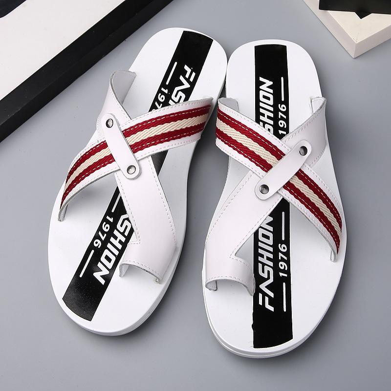 Mucca in pelle uomo pantofola inghilterra pantofole scarpe estive per i ragazzi antisdrucciolevoli diapositive di viaggio casuale sandalo c4561