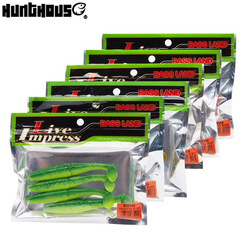 Hunthou 2019 New Style Fishing Lure suave Lure Bait 7 centímetros 10 centímetros 6bag / set Para Pesca Pesca cauda Baixo leurre T Combater Equipment