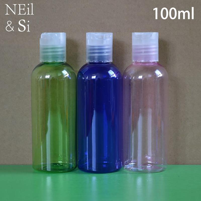 100 ml Kunststoff-Press Cap Flasche nachfüllbar Cosmetic Shampoo Shower Gel-Creme-Flaschen-Rosa-Grün, Blau, Weiß Brown-freies Verschiffen