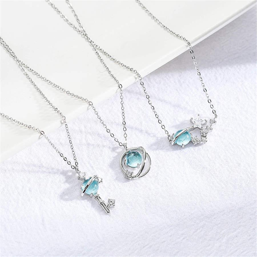 Girl blue glass planet necklace fantasy starry sky INS style student clavicle chain necklace Free Shipping