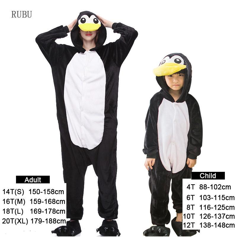 Flannel Winter Penguin Pajamas For Girls Cartoon Animals Adult Unicorn Onesie Pajamas Woman Boys Sleepwear Flannel Pyjamas Kids J190522