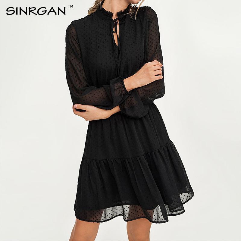 SINRGAN dentelle noire jusqu'à évider sexy taille élastique de femmes de mini-robe longue soirée robes de Noël robe d'été de CJ200326