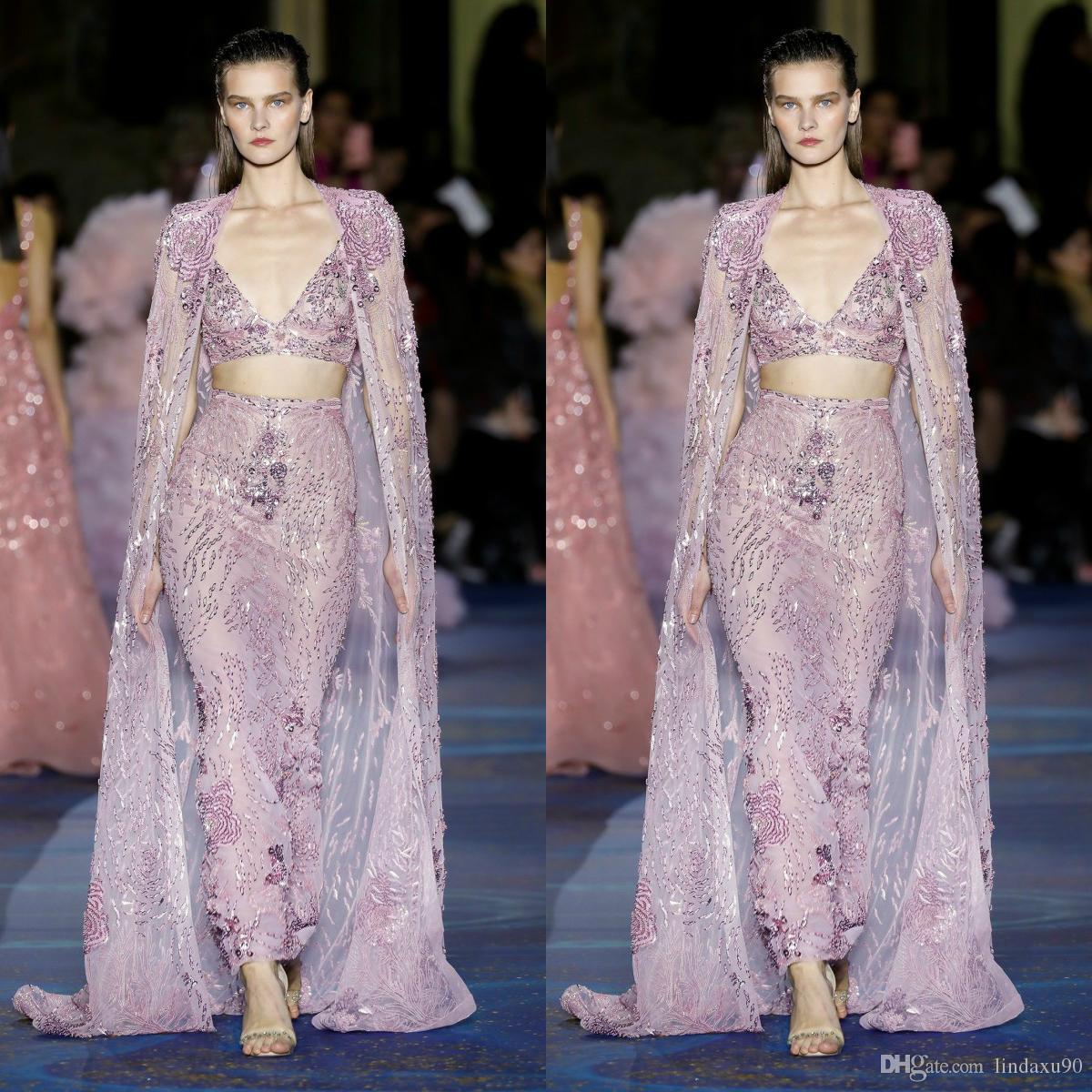 Zuhair Murad 2019 Mermaid Abiti da sera in due pezzi con mantella di lusso perline Celebrity Prom Dress Sweep Train Abiti per occasioni speciali