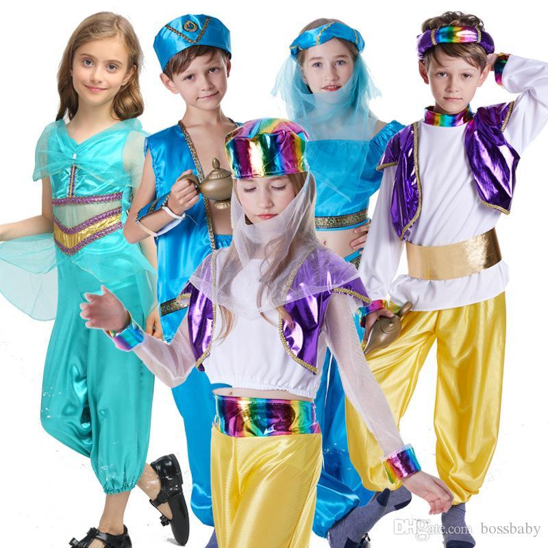 Дети Aladdin Cosplay Set Boy Party Stage костюм для девочек маскарадные Arabia принцесса Set Детская одежда Детская Косплей одежда 06