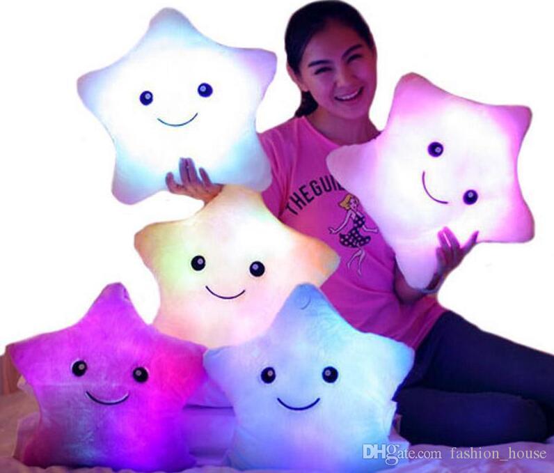 LED-Blitzlicht Einflusskissen Fünf-Sterne-Puppe-Plüsch-Tiere Plüschtier 40 * 35cm Beleuchtung Geschenk-Kind-Weihnachtsgeschenk füllte Plüsch-Spielzeug
