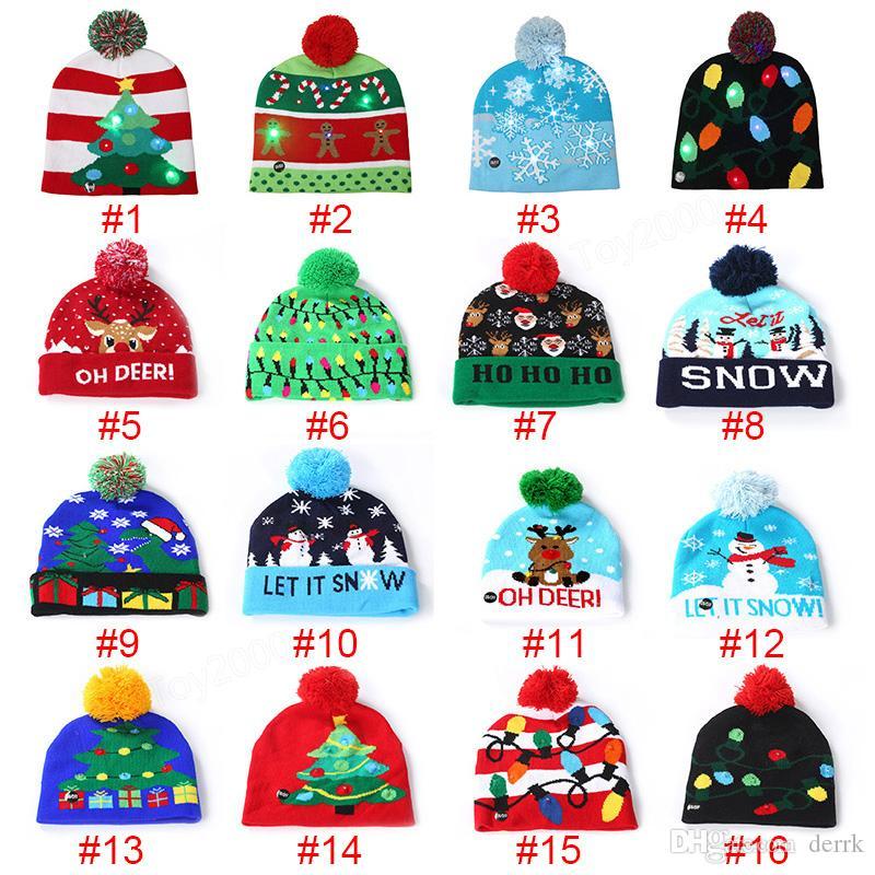 16 led هالوين عيد الميلاد محبوك القبعات الاطفال الطفل الأمهات الشتاء الدافئة بيني القبعات الكروشيه ل اليقطين الثلج مهرجان حزب ديكور هدية الدعائم