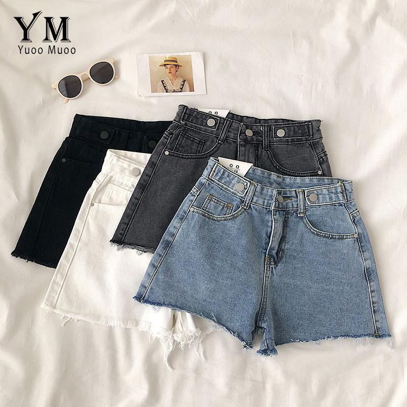 Nuovi all'ingrosso 2020 vita alta denim di estate mette le donne Vintage Buttons Shorts Jeans larga femminile Leg Shorts Feminino Slim Hip Up