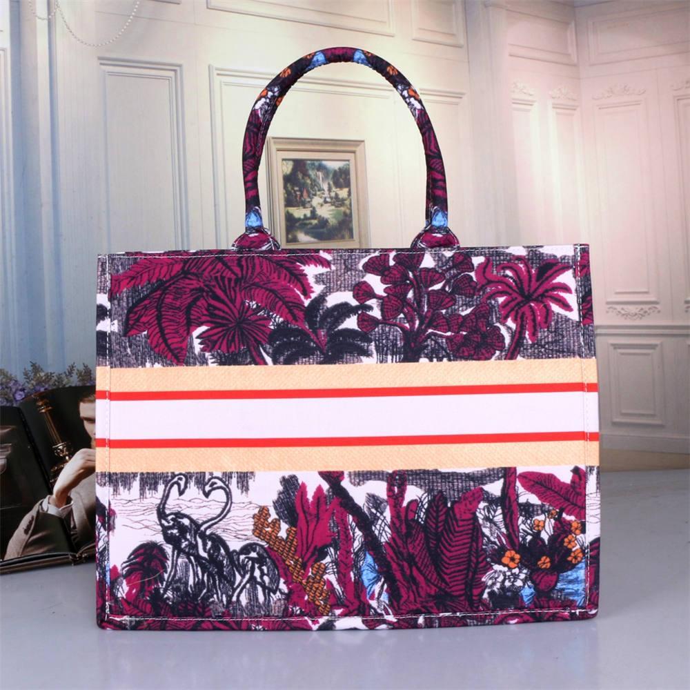 2020 패션 새로운 핸드백 디자이너 인쇄 자수 여러 가지 빛깔의 단일 어깨 대용량 물통 가방