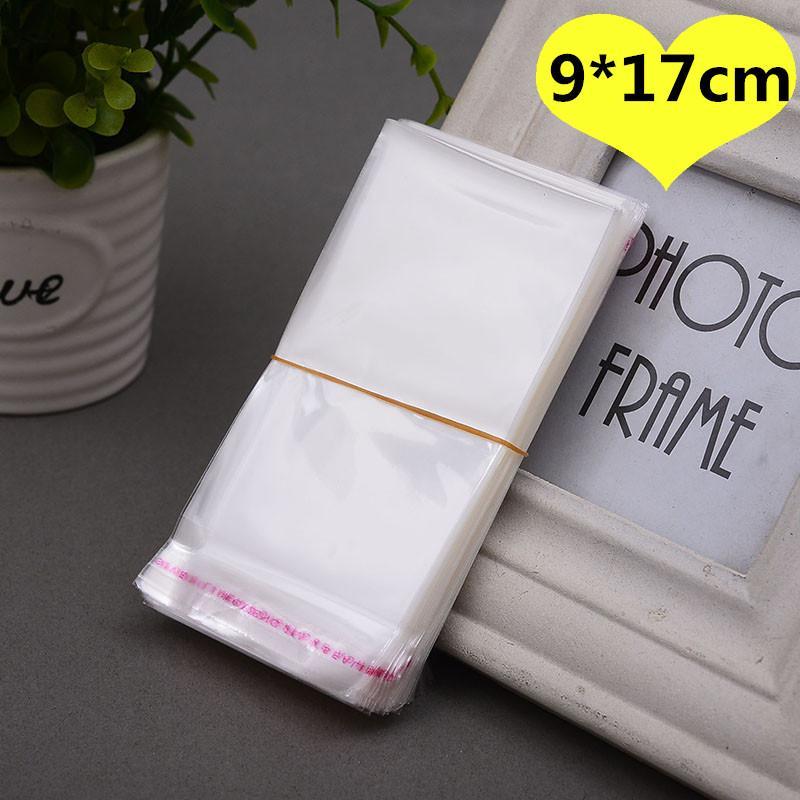 500pcs 9 * 17cm clara transparente auto-adhesivo de Opp resellable de alimentos de galletas dulces joyería bolsas de regalo de embalaje de la tarjeta pequeña bolsa de plástico