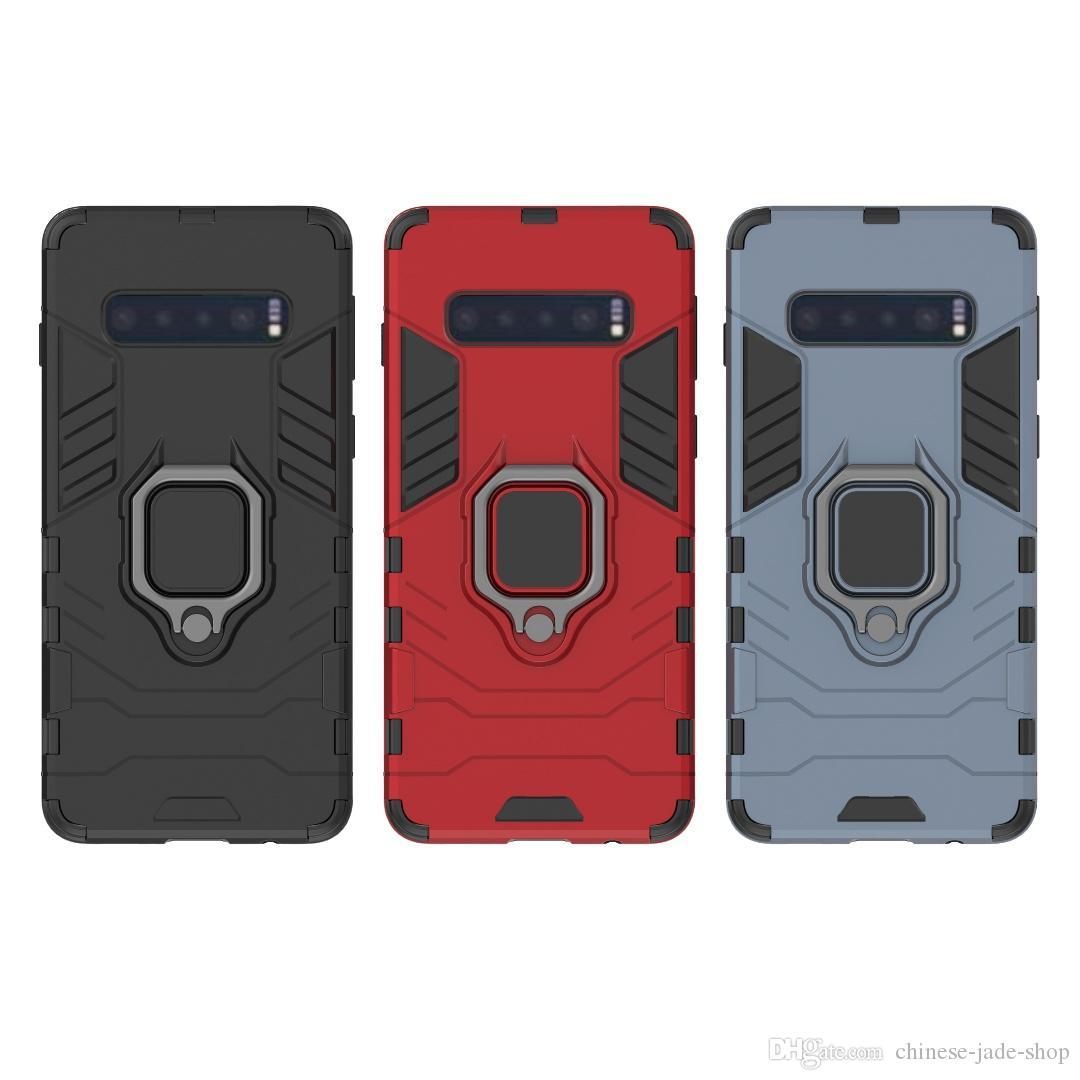 Para iPhone 6 6S 7 8 PLUS XR XS XS MAX Galaxy S10 S10 PLUS s9 s9 plus Soporte de anillo Soporte de montaje Funda Armadura Robusta capa doble 150pcs / lot