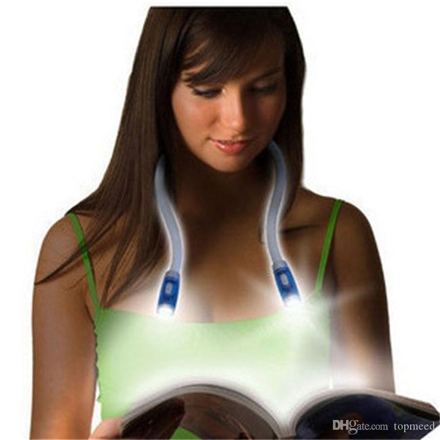 Flexível ajustável LED Handsfree Neck Luz Huglight Livro de leitura Lâmpada Abraço Luz novidade Noite Iluminação com 4 LEDs