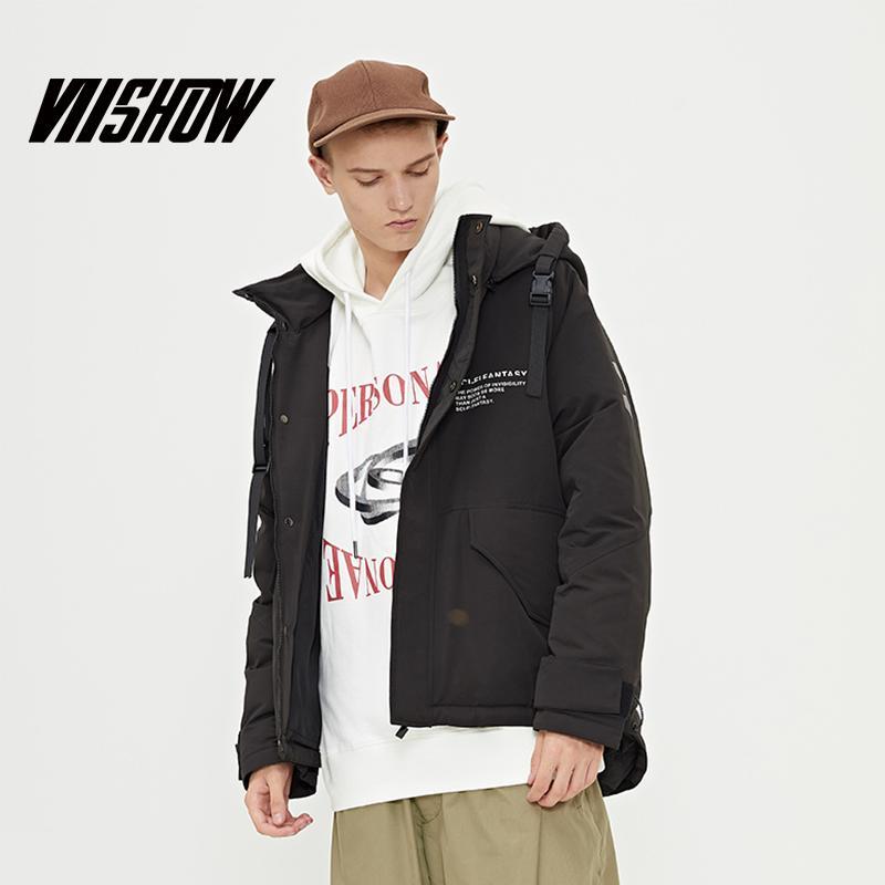 2019 nuevo invierno negro por la chaqueta los hombres marea corto de calentamiento por la chaqueta con capucha de los hombres de la marca