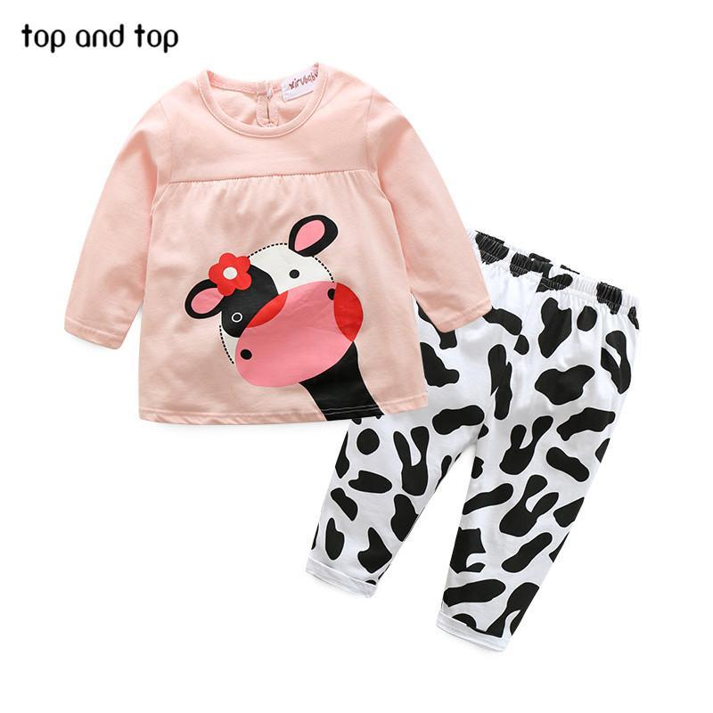 Wholesale- high quality winter hot sale baby girl clothes casual long-sleeved T-shirt+Pants suit Tracksuit the cow suit of the girls