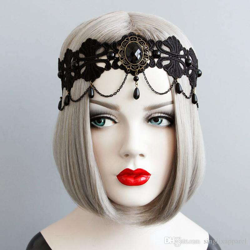 Black Fashion Queen Headband Personality Lace Headbands with Pearls & Chain Tassel Halloween Ladies Elastic Hair Accessories