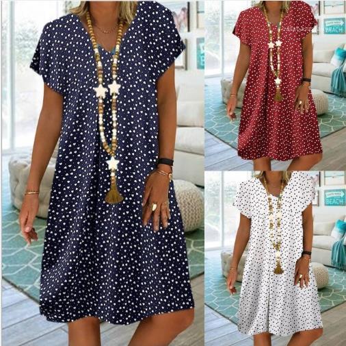 Ploka Dot Цветочные женщин лето дизайнер платья V шеи с коротким рукавом Повседневные платья OL Стиль Женские летние платья