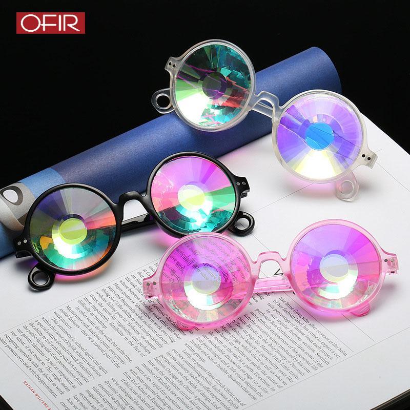 Retro Kadınlar Yuvarlak Kaleidoscope Güneş Moda Dans partisi Komik Mozaik Güneş Gözlükleri Erkek Kadın Dekorasyon Gözlük UV400