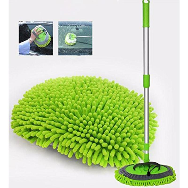 Retractable Car Wash Mop (including Brush head)Dust Removal Detachable Dual-use Mop Rag Strong Water Absorption Car Cleaning A