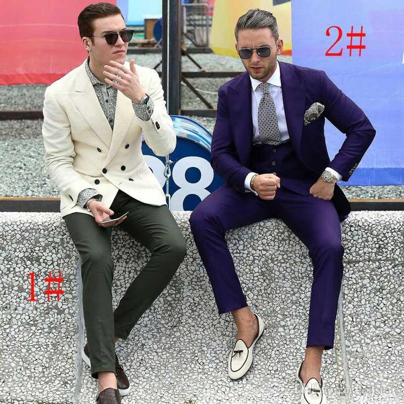 Trajes de hombre de marfil de doble botonadura para boda Púrpura Terno masculino 2 piezas (chaqueta + pantalón) Trajes de esmoquin de novio Hombres Blazer Traje a medida Homme