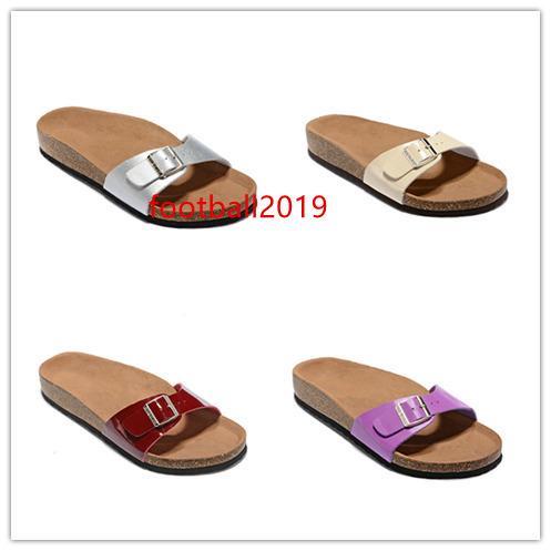 Marca di alta qualità Madrid pantofole in vera pelle per donne degli uomini all'ingrosso sandali degli appartamenti di sughero con fibbia scarpe da spiaggia estive