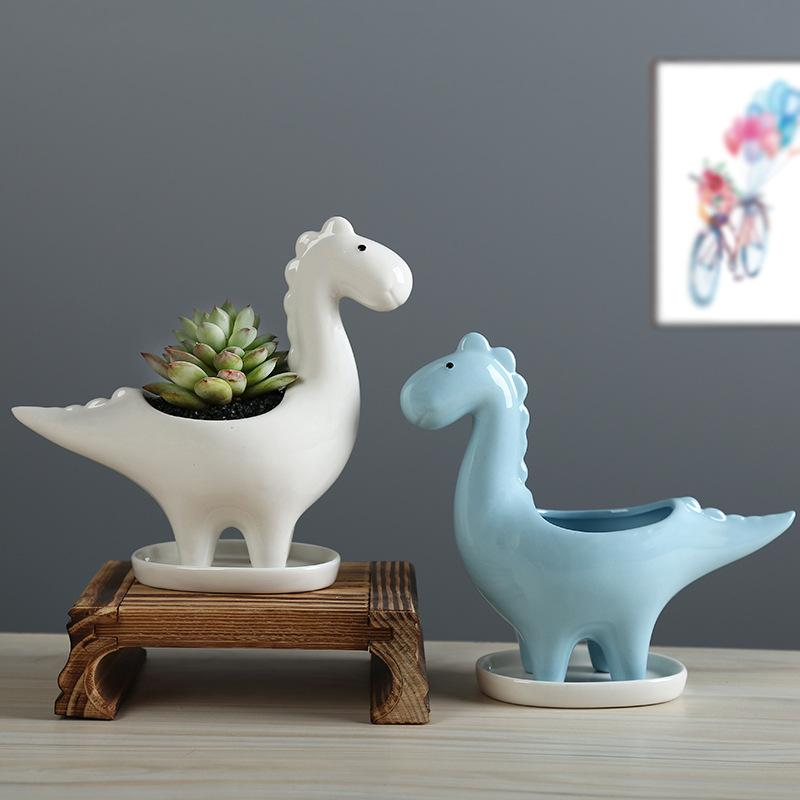 Dinosaur succulent pot ceramic gardening creative flowerpot glazed cartoon animal gift tabletop ornament home garden decor