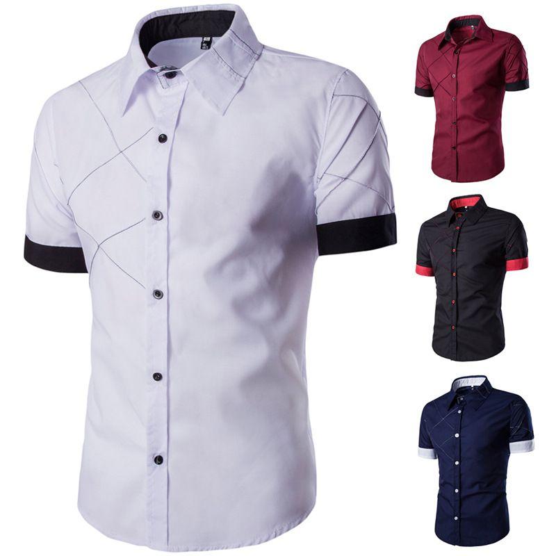 Мужчины повседневная отложным воротником хлопок смесь плед панелями с коротким рукавом тонкий кардиган 4 цвета мужчины футболка