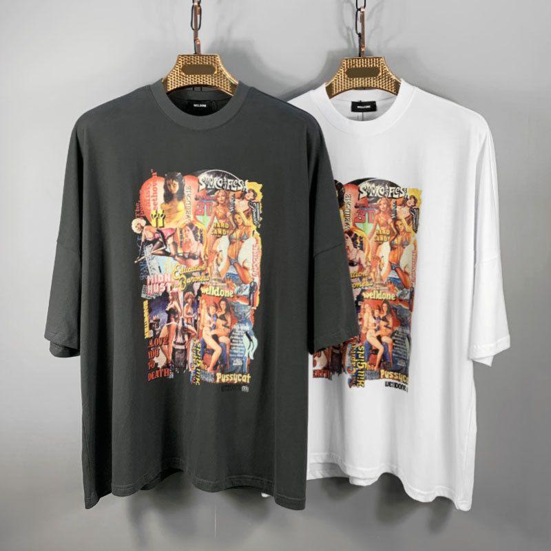 el diseñador de moda japonés y coreano WELLDONEN marca de marea camiseta WE11DONE póster de la película excelente tema de manga corta caída del hombro suelta