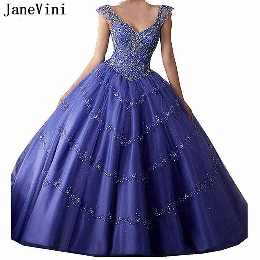 JaneVini Luxo roxo Tulle inchado Quinceanera vestidos longos de baile 2019 Profunda V Neck cristal frisado Backless Plus Size Princesa Prom Vestidos