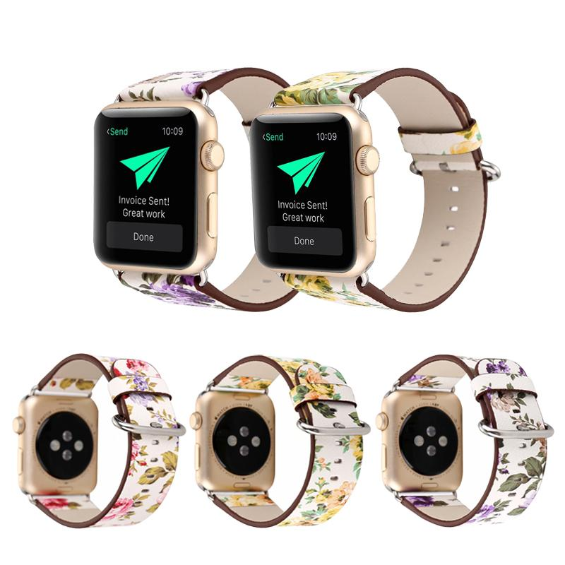 Fashion Flower Strap for Apple Watch Band 38mm 40mm 42mm 44mm iWatch Series 5 4 3 2 1 Leather Wristband Bracelet Straps