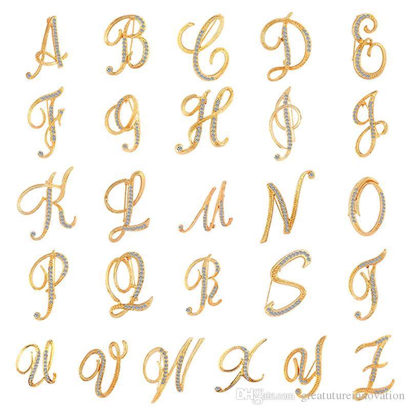 Lettre broche broches broche initiale en strass pour les femmes artisanat argent/é A