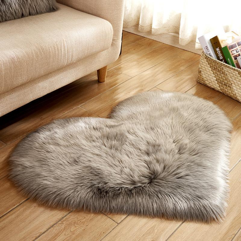 Cilected Gray/Rose/White Heart Shaped Faux Fur Rugs And Carpets For Home Living Room Bedroom Fluffy Mat Super Shaggy Plush D19011201