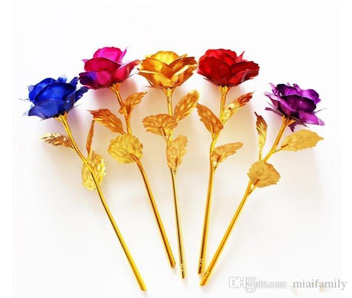 Romantik 24 K Kaplama Altın Gül Çiçek Altın Varak Kaplama Yapay Düğün Şenlikli Parti Sevgililer Günü Hediyesi