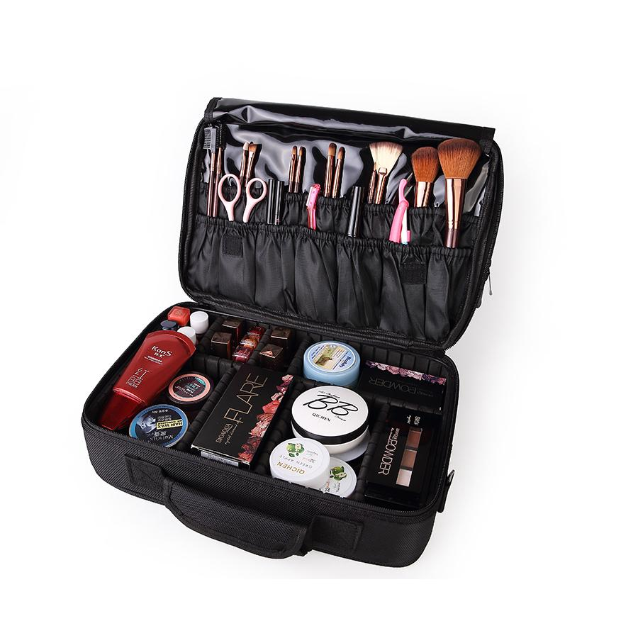 Women Large Capacity Professional Makeup Organizer Fashion Toiletry Cosmetic Bag Travel Storage Box Portable Suitcase Handbag