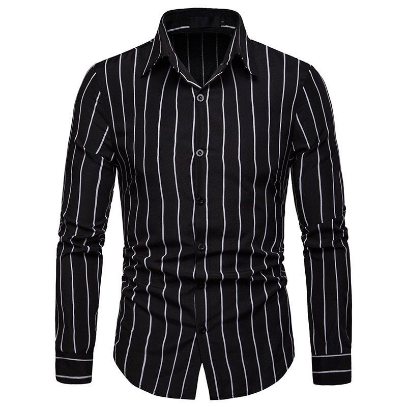 Erkek Casual Gömlek Şimdi Erkekler Gömlek Moda Iş Elbise Giyim Çizgili Streetwear Sosyal Uzun Kollu Erkek Marka Rahat Düzenli-Fit T