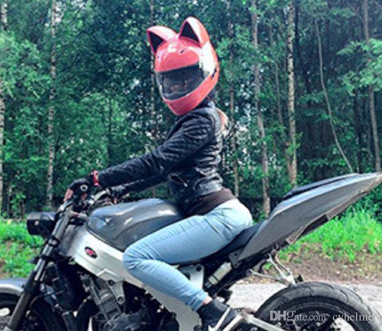 NITRINOS Marca capacete da motocicleta rosto completo com orelhas de gato de quatro estações de cor-de-rosa